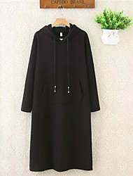 Women's Going out / Beach / Holiday Sexy / Cute / Chinoiserie Loose Dress,Solid Hooded Above Knee ¾ Sleeve Black Polyester Winter Low Rise