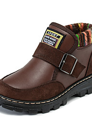 Boy's Boots Spring Fall Winter Other Leather Outdoor Casual Hook & Loop Black Blue Coffee Other