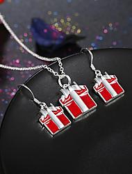Schmuck 1 Halskette 1 Paar Ohrringe Party Alltag Normal 1 Set Damen Rot Hochzeitsgeschenke