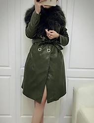 Mujer Simple Casual/Diario Un Color Abrigo Manga Larga Invierno Piel de Zorro Negro / Verde Medio