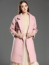 INPLUS LADY Women's Casual/Daily Vintage CoatSolid Notch Lapel Long Sleeve Winter Pink Wool / Polyester Medium