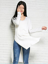 Women's Casual/Daily Simple Sweater Dress,Solid Round Neck Above Knee Long Sleeve Red / White / Black Nylon Spring Mid Rise Micro-elastic