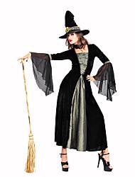 Sorcier/Sorcière Fête / Célébration Déguisement Halloween Noir / Gris Couleur Pleine / Lace RobeHalloween / Noël / Carnaval / Nouvel an /