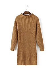 Women's Going out / Casual/Daily Simple / Street chic Sheath DressSolid Round Neck Above Knee Long Sleeve Brown Cotton Fall / WinterMid