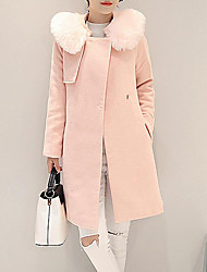 Women's Going out Sophisticated Coat,Patchwork Shawl Lapel Long Sleeve Winter Pink Polyester