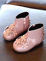 Girl's Boots Winter Comfort Patent Leather Casual Flat Heel Flower Black / Pink Others