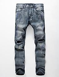 2016 Mens Famous Designer Fashion Cotton Denim Hole Ripped Jeans Casual Straight Jeans Male Men's Jeans Hot Sale