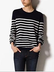 Damen Kurz Pullover-Lässig/Alltäglich Einfach Gestreift Weiß Schwarz Rundhalsausschnitt Langarm Kaschmir Herbst Winter Mittel