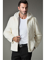 Men's Casual/Daily Simple Fur Coat,Solid Long Sleeve Winter White Faux Fur Thick