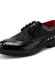 Men's Oxfords Spring Fall Comfort Glitter Leatherette Wedding Party & Evening Casual Low HeelBeading Rivet Sparkling Glitter Lace-up