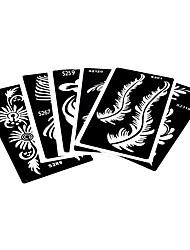 6 Stück Hohl Henna-Tattoo Schablone Federblume für Schönheit Frauen Körperkunst Farbe Henna-Tattoo Zeichnung Schablone