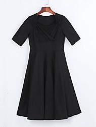 De las mujeres Línea A Vestido Vintage / Fiesta Un Color Hasta la Rodilla Escote Cuadrado Lana / Algodón / Elástico