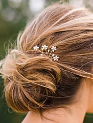 Women's Simple Sweet Pearl Flower Handmade Headdress Hairpin Metal Hair Accessories  1 Piece