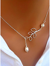Women's Pendant Necklaces Pearl Necklace Leaf Pearl Imitation Pearl Alloy Basic Tassel Adjustable Fashion Jewelry ForParty Business Daily