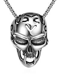 Homens Colares com Pendentes Caveira Aço Inoxidável Original Pingente Personalizado Hip-Hop Rock Euramerican Europeu Estilo Punk Prata