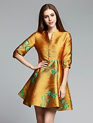 MMLJ Women's Casual/Daily Chinoiserie A Line DressJacquard V Neck Above Knee  Length Sleeve Yellow Polyester Fall Mid Rise Inelastic Medium