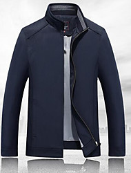 Men's Beach / Party/Cocktail / Holiday Cute / Street chic / Active Jackets,Solid Shirt Collar Long Sleeve Spring / FallBlue / Beige /