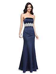 TS Couture Formal Evening Dress - Elegant Trumpet / Mermaid Strapless Floor-length Satin with Beading Sash / Ribbon