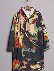 Women's Work / Sports Cute / Chinoiserie A Line Dress,Print Hooded Midi Long Sleeve Multi-color Cotton All Seasons Mid Rise Micro-elastic
