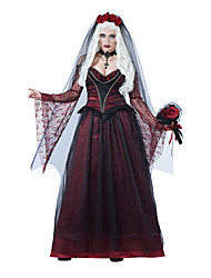 Cosplay Costumes Wizard/Witch / Queen / Vampire Movie Cosplay Red Solid Dress / Headwear Halloween / Carnival Female Polyester
