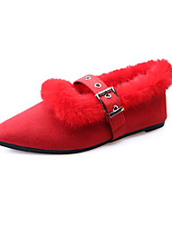 Women's Flats Fall Winter Comfort PU Casual Low Heel Black Red Other