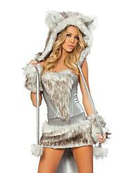 Costumes de Cosplay Costumes de père noël Fête / Célébration Déguisement Halloween Gris Mosaïque Robe / Plus d'accessoires Noël Féminin