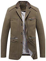 Men's Casual/Daily Vintage JacketsSolid Stand Long Sleeve Khaki/Coffee Coat Medium 916493