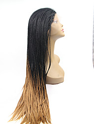 Sylvia Synthetic Lace front Wig Black Braided Hair Ombre Black To Blonde Straight Smallest Braids Heat Resistant Synthetic Wigs For Black Women