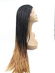 sylvia laço sintético frente peruca de cabelo trançado preto ombre preto para loiro reta menores tranças aquecer perucas sintéticas