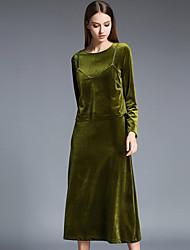 Damen Solide Einfach Lässig/Alltäglich T-shirt Rock Anzüge,Rundhalsausschnitt Herbst Langarm Grün Polyester / Nylon