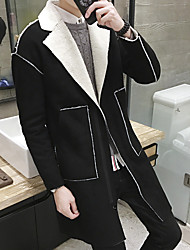 Men's Going out / Casual/Daily Simple / Street chic Coat,Solid Shirt Collar Long Sleeve Winter Black / Brown Acrylic Thick