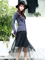 Women's Swing Solid Chiffon / Rivet Skirts,Going out / Casual/Daily Cute Mid Rise Midi Elasticity Silk Micro-elastic Spring / Summer