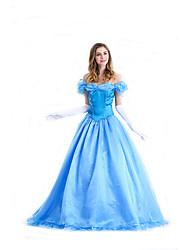 Costumes de Cosplay Princesse / Reine / Conte de Fée / Cosplay Cosplay de Film Bleu Couleur Pleine Robe Halloween / Carnaval Féminin