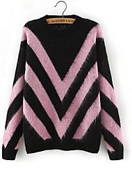 Damen Standard Pullover-Lässig/Alltäglich Einfach Gestreift Geometrisch Einfarbig Blau Rosa Rot V-Ausschnitt Langarm Baumwolle Frühling