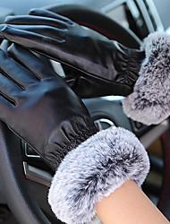 mulheres pu pontas dos dedos de comprimento de pulso, retalhos de inverno casuais