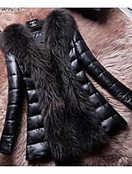Women's Going out Sexy Fur Coat,Solid V Neck Long Sleeve Winter Black Faux Fur Thick