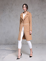 Women's Casual/Daily Simple Trench Coat,Solid Long Sleeve Brown Cotton