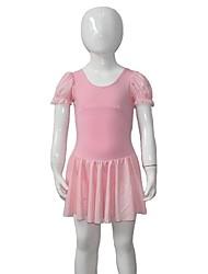 Ballet Dresses Women's / Children's Performance Cotton / Lycra Mesh Pleated / Ruffles 1 Piece Short Sleeve Dress
