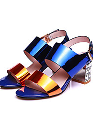Women's Sandals Summer Ankle Strap Comfort Cowhide Dress Casual Party & Evening Chunky Heel Buckle Blue Walking