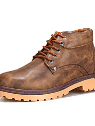 Men's Boots Winter Comfort PU Casual Low Heel Lace-up Black Blue Brown Others