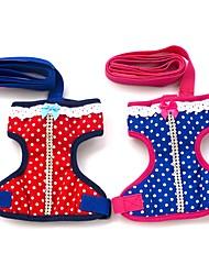 Gatos / Cães Arreios / Trelas Segurança / Macio / Corrida / Colete / Casual Pontos Polka Vermelho / Azul Tecido