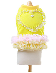 Dog Dress Yellow Dog Clothes Winter / Spring/Fall Hearts Keep Warm