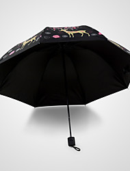 Korean Princess Deer  Seventy Percent Off Black Plastic UV Protection  Umbrella Umbrella  Sun Umbrella (Random Colours)