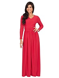 Women's V Neck Solid Plus Size / Party/Cocktail Boho Long Slim Sheath Maxi Dress