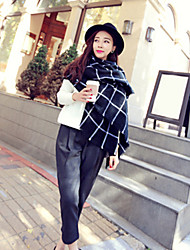 Women Wool Blend Western Style Black-White Grid Scarf , Vintage / Casual