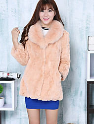 Women's Casual / Casual/Daily Simple Coat,Solid V Neck Long Sleeve Winter Pink / Beige / Black / Gray / Purple Rabbit Fur Thick