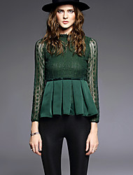 AGD Women's Casual/Daily Vintage Winter BlouseSolid Stand Long Sleeve Black / Green Polyester Medium