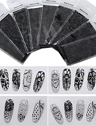 9pcs/lot Lace Nail Star Sticker