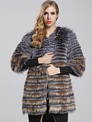 BF-Fur Style Women's Casual/Daily Sophisticated Fur CoatColor Block Sweetheart  Length Sleeve Winter Gray Fox Fur