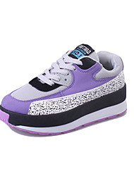 Women's Athletic Shoes Fall Winter Comfort PU Casual Low Heel Lace-up Black Pink Purple Others